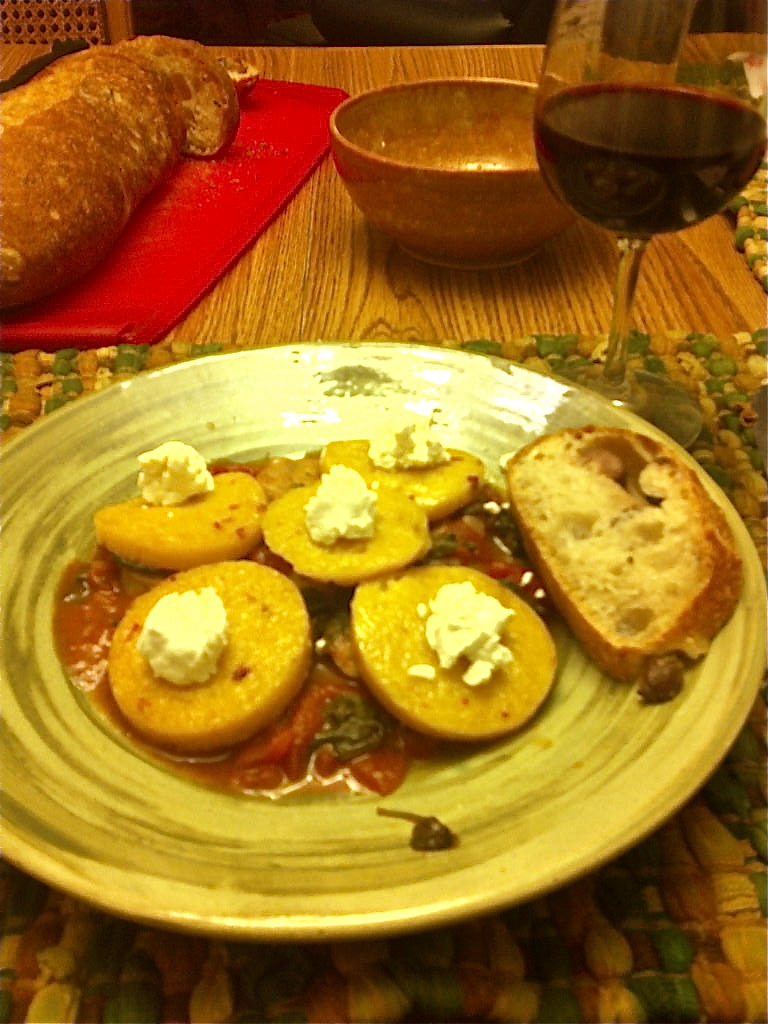 Quick Meals…Polenta with goat cheese and a tomato sauce ...