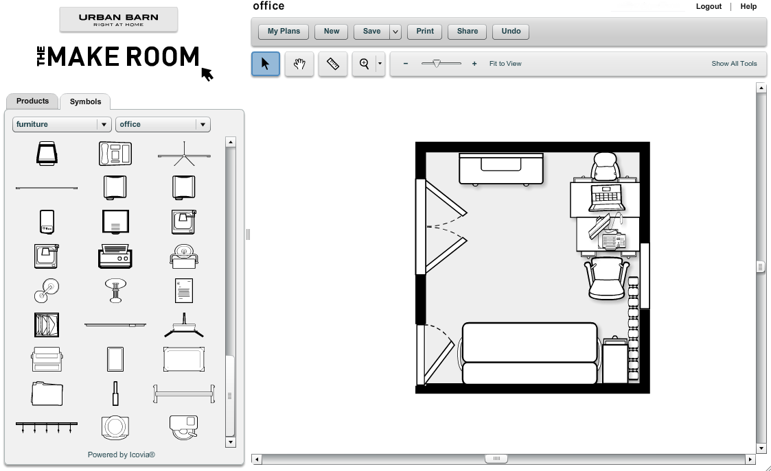 Office plan using make room for Office space planner online