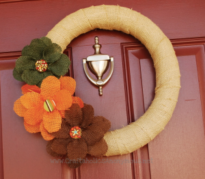 DIY Burlap Fall Wreath from CraftaholicsAnonymous.com